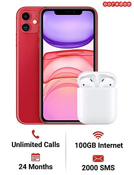 ooredoo Plan - Apple iPhone 11 64GB With AirPods with Charging Case