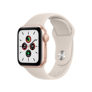 Apple Watch SE GPS 40mm Gold Aluminium Case with Starlight Sport Band (MKQ03)