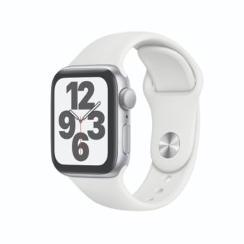 Apple Watch SE GPS 40mm Silver Aluminium Case with White Sport Band (MYDM2)