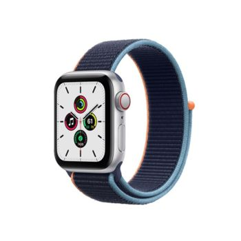 Apple Watch SE GPS+Cellular 40mm Silver Aluminium Case with Deep Navy Sport Loop (MYEG2)