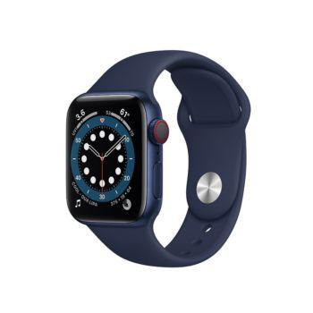 ساعة ابل الفئة السادسة  جي بي إس+خلوي 40 مم - هيكل من الألمنيوم ازرق مع سوار رياضي كحلي