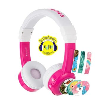 BuddyPhones InFlight Kids on-ear wired HeadPhones - Pink (BP-IF-PINK-01-K-1)