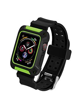 Coteetcl TPU and PC Material For iWatch 44mm Black With Green (WH5268-BG)