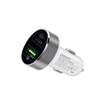 Momax UC10 Dual Port USB With Type-C PD Fast Car Charger 36W White (UC10W)