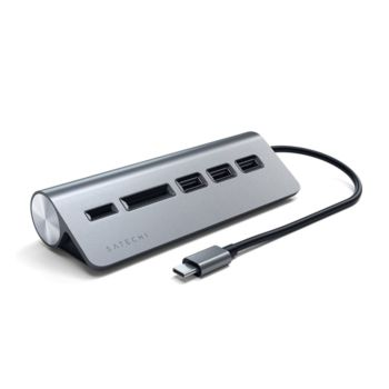 Satechi Type-C Aluminum USB Hub & Micro/SD Card Reader - GRAY (ST-TCHCRM)