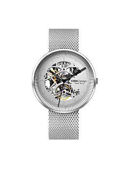ساعة يد من سلسلة مايكل يونغ - ميكانيكية آلية من الفولاذ المقاوم للصدأ - فضي من سيغا ديزاين