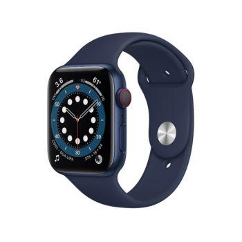 Apple Watch Series 6 GPS + Cellular, 44mm Blue Aluminium Case with Deep Navy Sport Band (M09A3ZP/A)