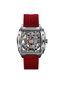 ساعة يد سلسلة ذيد - إل316 ميكانيكية آلية ذات هيكل عظمي من الفولاذ المقاوم للصدأ - احمر من سيغا ديزاين