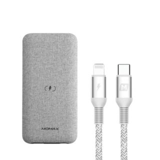 Momax 10000mAh Q.Power Touch Wireless Battery with Lightning Cable -light  Gray  (VPD0069)