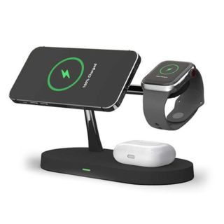 5 in 1 Magnetic Fast Wireless Charging Stand with Night Lamp (15W ) (MF-WCB)