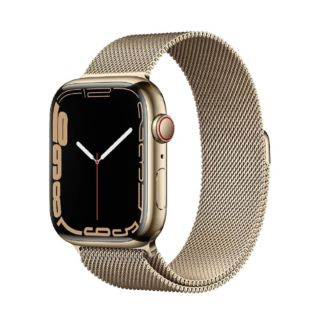 Apple Watch Series 7 41MM Stainless Steel GPS + Cellular - Gold Stainless Steel Case with Gold Milanese Loop