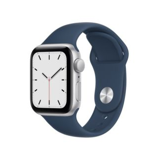 Apple Watch SE GPS 40mm Silver Aluminium Case with Abyss Blue Sport Band (MKNY3)