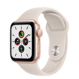 Apple Watch SE GPS 44mm Gold Aluminium Case with Starlight Sport Band (MKQ53)