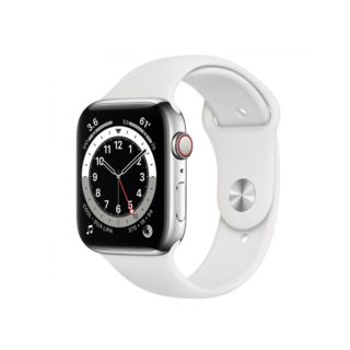 Apple Watch Series 6 GPS+Cellular 40mm Silver Stainless Steel Case With White Sport Band (M06T3)