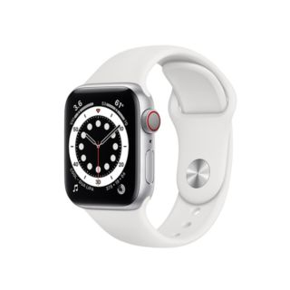 Apple Watch Series 6 GPS + Cellular 44mm Silver Aluminium Case with White Sport Band (MG2C3)
