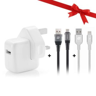 Bundle Pack Apple 12W Adapter with Momax Lightning & USB-C Cable