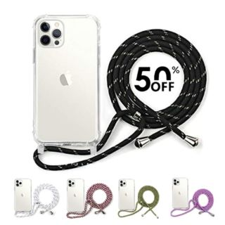 Clear Case for iPhone 12 - 12 Pro with Adjustable Neck Lanyard (Multi-Color) 1-Pcs Only