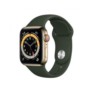 Apple Watch Series 6 GPS+Cellular 44mm Gold Stainless Steel Case with Cyprus Green Sport Band (M09F3)