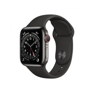 Apple Watch Series 6 GPS + Cellular 40mm Graphite Stainless Steel Case with Black Sport Band (M06X3)