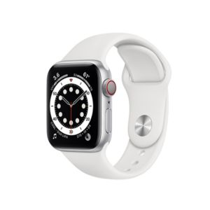 Apple Watch Series 6 GPS+Cellular 40mm Silver Aluminium Case with White Sport Band (M06M3)